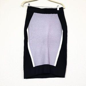 Black geometric design pencil skirt